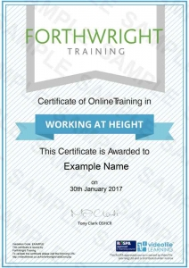 Working-At-Height-Sample-Certificates-Forthwright-Training