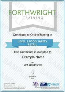 Level-1-Food-Safety-Retail-Sample-Certificates-Forthwright-Training